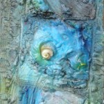 1031 blue 25X102cm assemblage wood